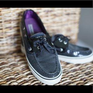 Black Sequin Sperry's